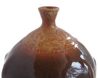Unique Vase, Handmade Ceramic Vase, Decorative Vase, Unique Home Decor, Orange Decor, Deep Purple Decor, Purple Vase, Orange Vase, Gift
