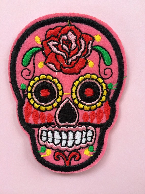 Embroidered iron on sugar skull patch / appliqué free shipping