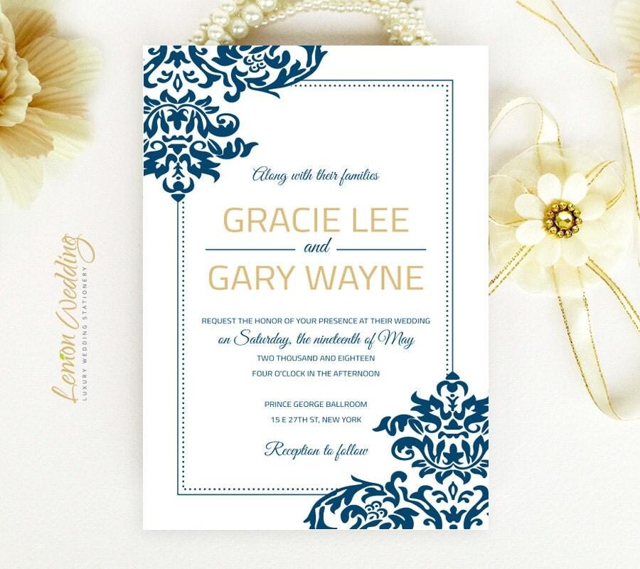Royal Blue Wedding Invitation Printed On Luxury Pearlescent