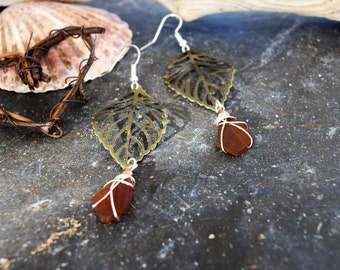 Boho Earrings with amber seaglass and bronze leaves.