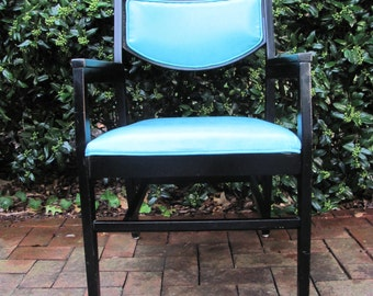 Mid Century Modern Black and Turquoise Lounge Chair