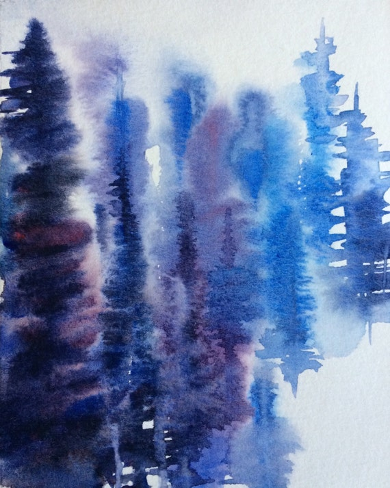 Abstract trees, tree watercolor, abstract landscape, Misty trees, Conifers, Northwest art, Pine trees, Pacific Northwest, watercolor trees