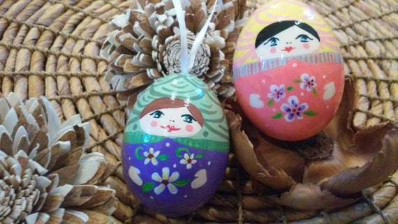 Babushka ornaments.  Blue eyed ladies (set).