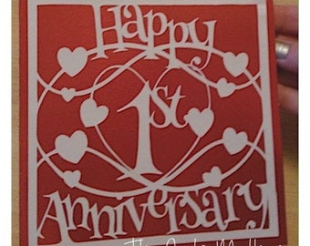 Happy 1st Anniversary Paper Cutting Template - Commercial Use