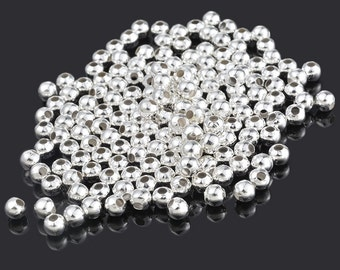 200 Silver Plated Smooth Round Spacer Beads 6mm
