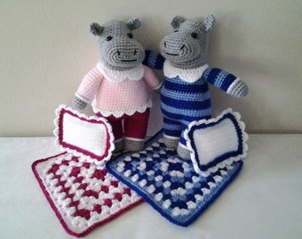 Happy Hippos! A pair of crocheted Hippo Toys