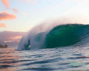 Sunset Barrel Pipeline Oahu,Hawaiian Seascape Color Photography,North Shore Wave,Hollow Barrel Haleiwa,Pink Peach Skies,Pinkish Cloud Photo