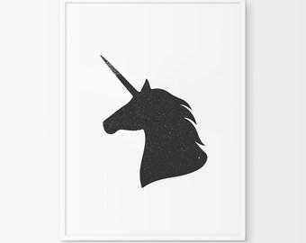 Unicorn, Unicorn Print, Unicorn Art, Unicorn Wall Art, Taxidermy Print, Unicorn Taxidermy, Unicorn Decor, Unicorn Head, Fantasy Art, Fantasy