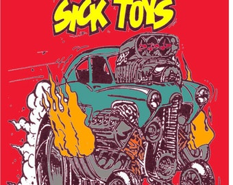 Vintage Reproduction Racing Poster Sick Toys Henry J Rat Fink Gasser