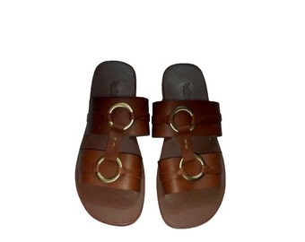 Toss Double Ring Men's Leather Slippers - Brown