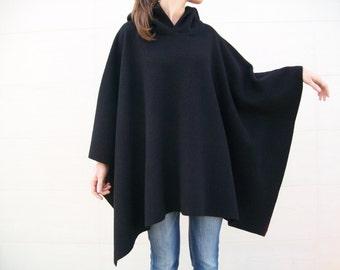 100 % MERINO WOOL PONCHO/ Oversized Hoodie/ Womens Sweaters/ Black Cape/ Winter Overcoat/Plus Size Coat Cape/Mens Poncho/ Wool Cloak/ Poncho