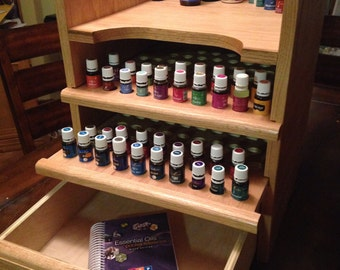 Essential Oil Shelf, Essential Oil Storage, Rack, drawer, scripture, holes for 156 15ml bottles plus shelf and drawer for storage!