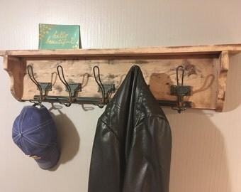 Coat rack, reclaimed, distressed, hat rack, shelf, organizer, entry rack, vintage, hook, entry shelf, shabby chic