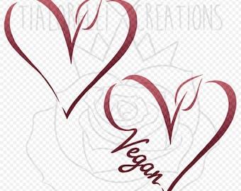 Decal - Vegan Heart - Vegitarian - Animal Rights - Laptop, Mac, Cell Phone, Car