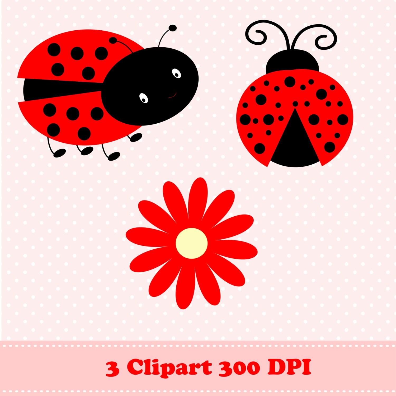 ladybug digital paper  ladybug clipart  flowers  polka