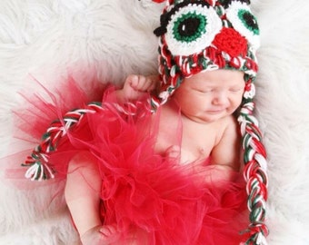 Christmas Jingle Owl Hat available in all sizes newborn to adult