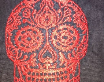 Embroidered Sugar Skull server apron waitress apron waiter apron, pick your own color embroidery