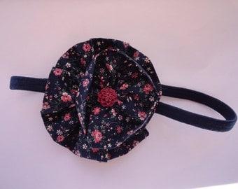 Rose Print Fabric Flower Elastic Headband