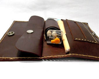 Rolling tobacco case, founded snuff rolling,  leather cigarette case, leather bag,tobacco pouch,