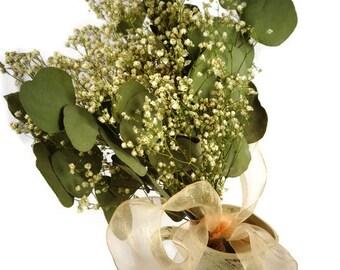 Dried flower bouquet,Dried babys breath,Dried Eucalyptus,Wedding bouquet,Simple bouquet,Dried flowers,Vintage bouquet,Wedding flowers,Nosgay