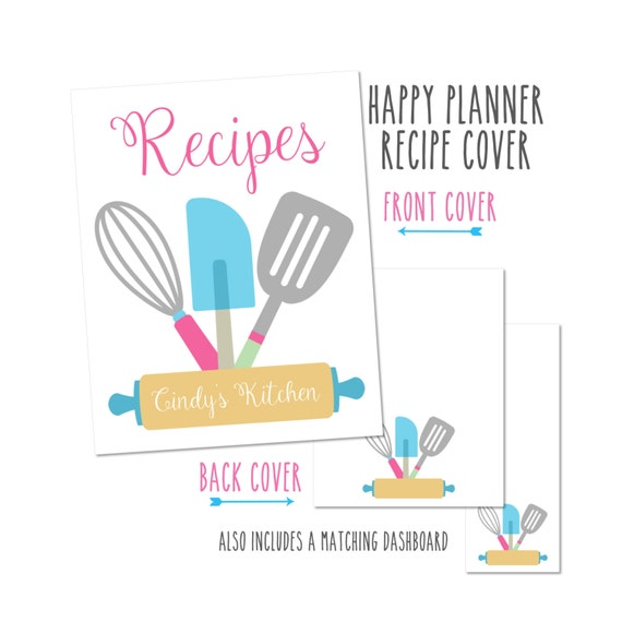 Happy Planner Recipe Book Cover - Choose from Cover only or Cover Set - Use with the Happy Planner Recipe Book