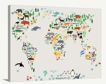 Canvas Large Wall Art - Animal World Map for Kids Room - Nursery World Map Print - World Map for Kids and Baby Room - Kids Room Wall Decor