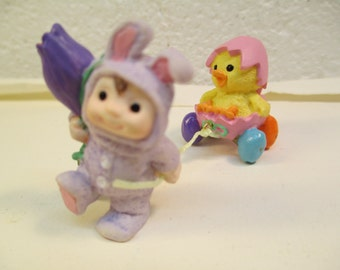 Hallmark Easter Bunny And Chick Merry Miniature Figurine Collectible