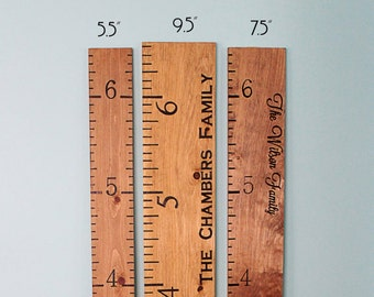 Growth Chart - Engraved Wood Growth Ruler - Personalized Height Chart - Wooden Growth Ruler - Childrens Measuring Stick - Baby Shower Gift