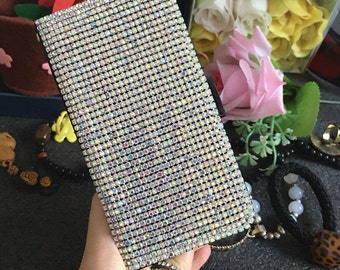 Bling Luxury Flip Slot Cards Holder Cute AB Gems Wallet Leather Lovely Fashion Sparkles Crystals Rhinestones Diamonds Case for Mobile Phone