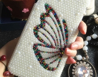 Stylish Butterfly Bling Pearls Lovely Fashion Sparkles Charms Jewelled Crystals Rhinestones Diamonds Gems Hard Cover Case for Mobile Phone