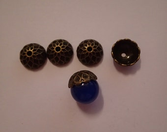 Acorn bead cap bronze colour 5pcs