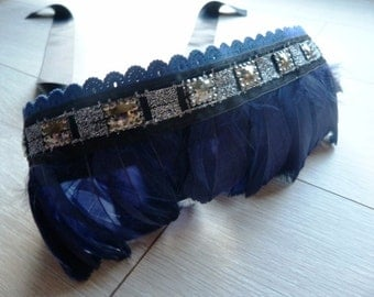 Boho embroidered blue and silver feather sash belt. Maternity sash belt.