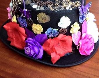 Steampunk Garden of Gears top hat