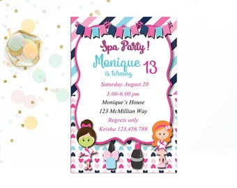 Spa Themed Birthday, Bachelorette Party Invites, Digital Invitations for Children's Parties, SPA Invitations, Girls Night Out, Mom Spa Day