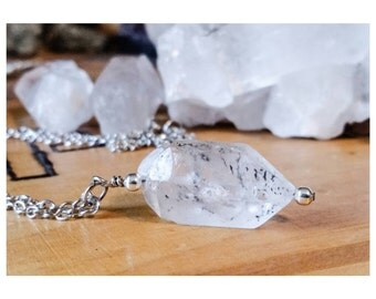 Black Phantom Quartz OOAK Crystal Necklace with Silver Chain