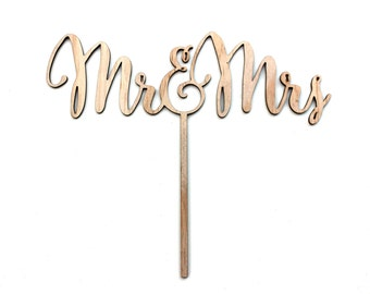 Wooden Mr and Mrs Cake Topper Rustic Natural