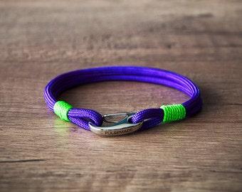 Sailor Bracelet men-Women, men's jewelry for women, nautical bracelet acid purple-neon green, Christmas gift, bracelet for her and him