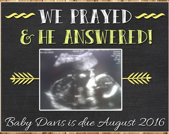 We Prayed & He Answered Pregnancy Announcement / Printable Pregnancy Announcement / Printable Pregnancy Reveal