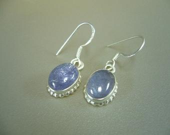 Tanzanite Sterling Silver Hook Earrings