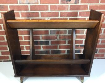 1960's Mid Century Modern Walnut Magazine Rack / Book Shelf