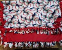 Fleece Blanket, Baseball Blanket, Knotted Fleece Blanket, Baseball Baby Gift, Blanket, Baseball Baby Blanket, Fleece Tie Blanket, Baseball