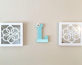 Front Door Decor, Decorative Letters, Initial Decor, Front Door Initial, Initial for Wreath, Teal Home Decor, Letter L,Wall Letters