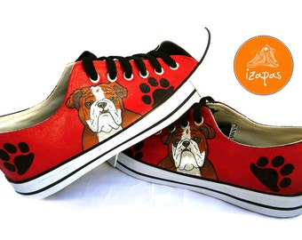 Bulldog Shoes, Sneakers, Hand Painted sneakers, dog shoes, Hand Painted, canvas shoes, trainers, hand painted shoes, low tops, dogs, custom
