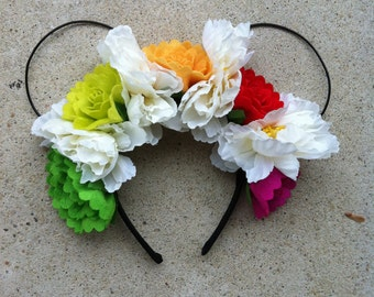 Multi Color Floral Wire Mickey Ears