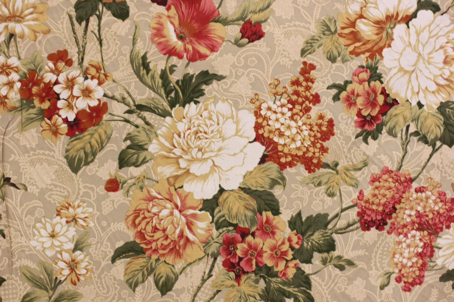Fabric vintage floral print by richloom fabric for drapery for Floral upholstery fabric