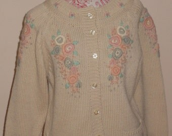 Vintage hand knitted cardigan UK 14-16