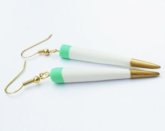 Turquoise Green and White Spike Earrings, Gold Statement Earrings, Punk Earrings, Minimal Modern Jewelry, Earrings for Spring, Ready to gift