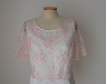 Top Wedding, pink Calais lace blouse married