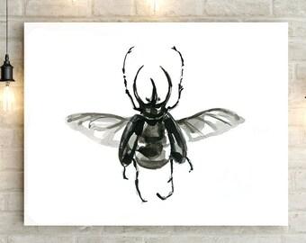 Rhinocerous beetle Art bug watercolor - beetle drawing - print - black beetle Painting - insect illustration - zen art watercolor bug