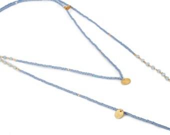 "LONG NECKLACE made of Miyuki beads, semi precious stones and ""vermeil"" sequins"